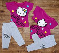 """Летний костюм для девочек """"Китти"""" с бриджами, рост от 86 до 116 см"""