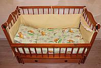 """Детское постельное в кроватку """"Мишка и пчелки"""", бязи """"Gold"""", цвет зеленый"""