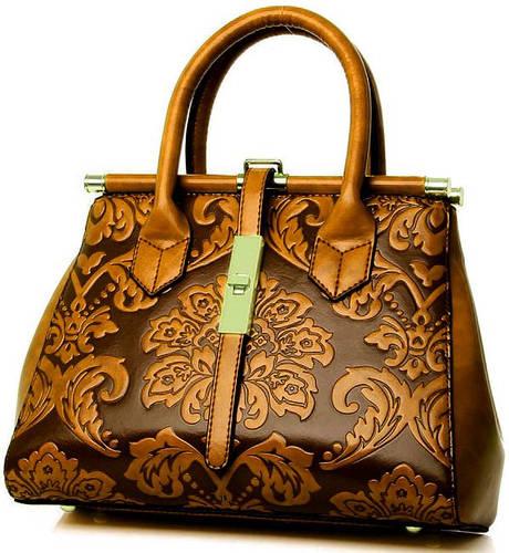 Красивая сумка с цветочным тиснением из искусственной кожи Traum 7230-12, коричневый