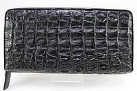Кошелек на молнии из кожи крокодила черный