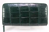 Кошелек на молнии из кожи крокодила темно-зеленый