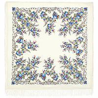 """Платок шерстяной с просновками и шелковой бахромой """" Утреннее сияние"""", 146x146 см"""