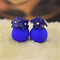 2016 новые модные брендовые серьги в виде цветков. Цветы синие!