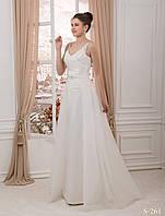 Привлекательное свадебное платье прямого силуэта с бретельками и со съемным шлейфом
