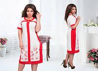 Платье женские с вышивкой, батал, фото 1