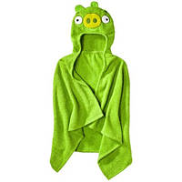Полотенце - пончо Angry Birds Hooded Towel Green Pig с капюшоном