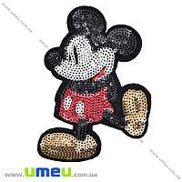 Термоаппликация детская с пайетками Микки Маус, 11,5х9 см, 1 шт (APL-016396)