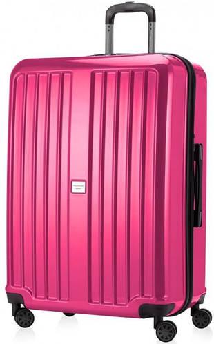Ёмкостный розовый чемодан на 4-х колесах HAUPTSTADTKOFFER xberg maxi magenta, пластик, 126 л.