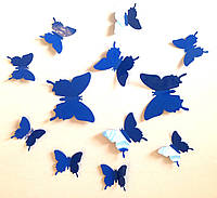 Бабочки 3D синие (электрик) 3Д декор наклейки