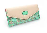 Женский кошелек Flower (уценка) клатч, портмоне, на кнопке, бирюзовый