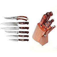 Набор ножей кухонных из нержавеющей стали с ручками из ABS с деревянной фактурой и подставкой 7 предметов Kamille (a5110)