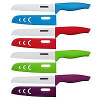 """Нож керамический для хлеба с ручкой из ABS-TPR """"soft-touch"""" и чехлом (лезвие 15см; красный, голубой, Kamille (a5159)"""