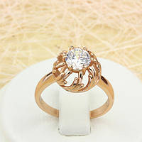 002-1442 - Оригинальное кольцо с прозрачным фианитом розовая позолота, 16, 17 р.