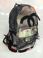 Женская сумка-рюкзак Chanel 1731  граффити, модный текстильный в черном цвете