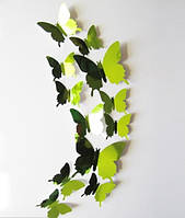 Бабочки 3D зеркальные (зелёные) 3Д декор наклейки