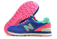 Кроссовки женские New Balance синие с розовым (нью беленс)
