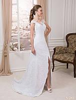 """Свадебное гипюровое платье силуэта """"годе"""", с высоким разрезом спереди"""