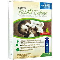 SENTRY НАТУРАЛЬНАЯ ЗАЩИТА (Natural Defense) капли от блох и клещей для собак до 7 кг (1.5 мл.) 1 пипетка