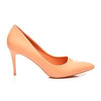 Оранжевые туфли лодочки лакированные на невысоком каблуке