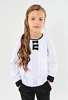 Красивая нарядная белая школьная блуза с бантиками для девочки в школу