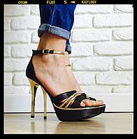Стильные босоножки на золотистом каблуке Польша все размеры