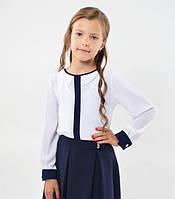 Красивая нарядная школьная белая блуза с фигурным воротничком  для девочки в школу