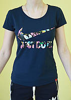Женская футболка короткий рукав Nike (1061) тёмно-синяя код 166 Д
