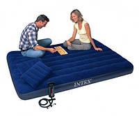 Надувной двухместный матрас для дома и природы с подушкой и насосом Intex 203x152 см