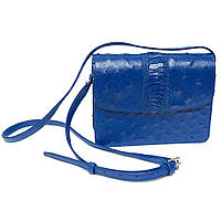 Сумка-клатч из страусиной кожи с отделкой синий