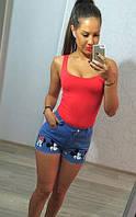 Молодежные летние женские шорты с завышенной талией и принтом Микки джинс