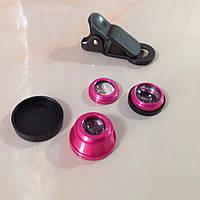 Объективы fisheye (фишай)180° 3 шт набор, розовый