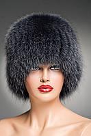Меховая шапка Кубанка (Барбара) из песца (сине-серая)