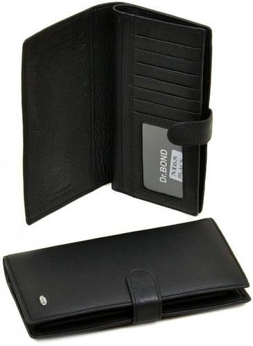 Галантный кожаный мужской бумажник dr.Bond M65 black, черный