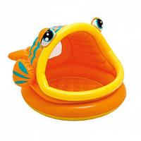 Детский надувной бассейн Intex 57109  круглый Рыбка, с навесом, 124-109-71 см