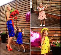 Комплект льняных нарядов для мамы и дочки