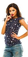 Блуза в звездочках с рюшами на плечах.Шифон. Разные цвета.