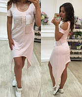 Платье женское с удлиненными углами вискоза Турция +украшение камни размеры С М Л