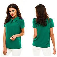 Однотонная блузка с коротким рукавом, с воротничком. Креп-шифон. Разные цвета.