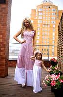 Длинное женское или детское платье котон-стрейч и креп-шифон