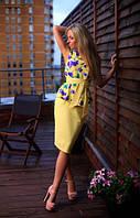 Костюм женский из натурального льна блуза + зауженная юбка размеры 42, 44, 46