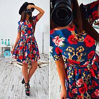 """Женское шикарное платье с коротким рукавом и юбкой-солнце """"Флора"""" (2 цвета)"""