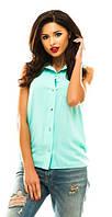 Однотонная блузка на пуговицах. Штапель. Разные цвета.