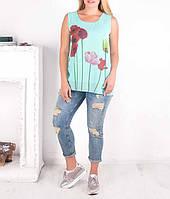 """Легкая женская шифоновая блуза """"Маки-Маки"""" от 48 до 70 размера"""