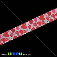 Репсовая лента с рисунком Сердца, 25 мм, Красная, 1 м (LEN-016565)
