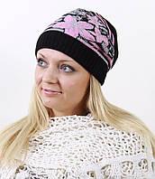 Черно-розовая вязанная шапка