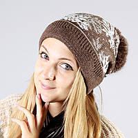 Женская шапка в коричневом цвете