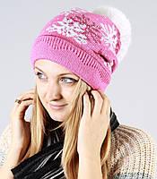 Нежно розовая молодежная  шапка