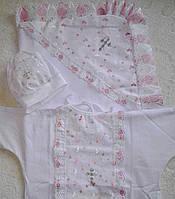 Крестильный набор из 3-х предметов для девочек: крыжма, рубаха, шапочка