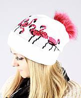 Нарядная белая шапка с  фламинго