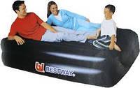 Надувная велюр-кровать с электронасосом Bestway